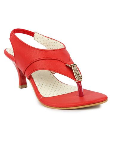MONAQI Red Color Synthetic Women Heels - MWF-B-41-RED
