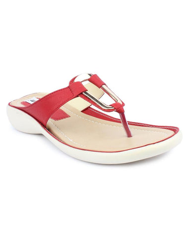 MONAQI Red Color Synthetic Women Flats - MWF-B-8-RED