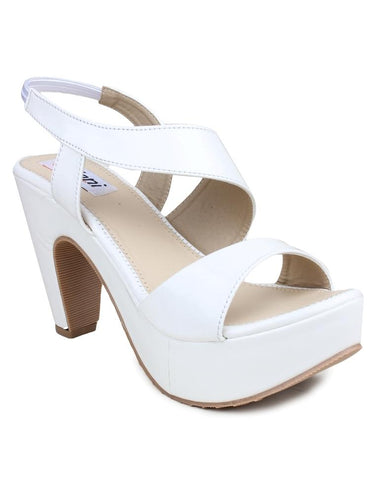 MONAQI White Color Synthetic Women Heels - MWF-R-1-WHITE