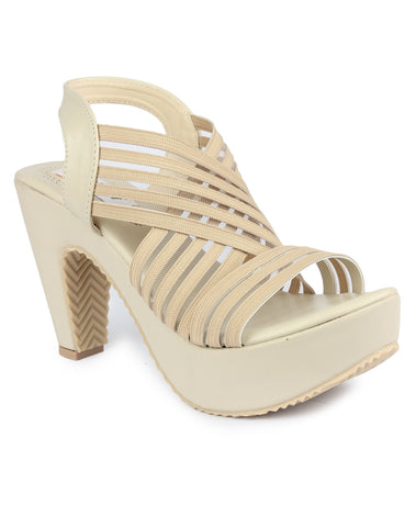 MONAQI Cream  Color Synthetic Women Heels - MWF-R-5-CREAM