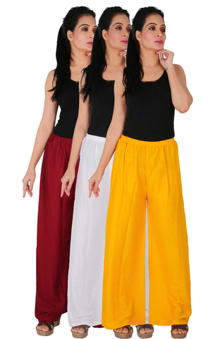 Pack Of 3 Rayon Palazzos - MWY