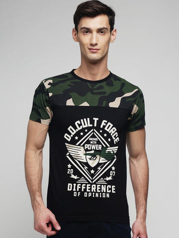 Black Color Cotton Men's Tshirt - MYNCR017002CAMO