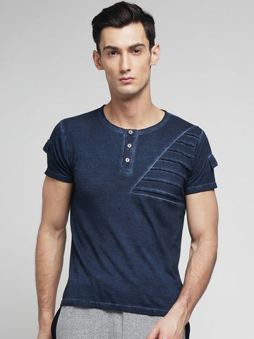 Blue Color Cotton Men's Tshirt - MYNCR017006BLE