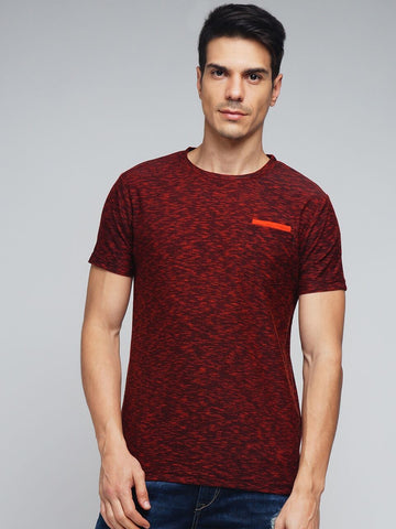 Maroon Color Cotton Men's Tshirt - MYNCR017007ORG