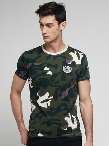Green Color Cotton Men's Tshirt - MYNCR017009GRN-CAM