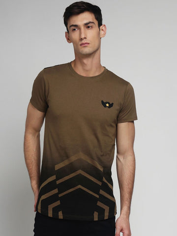Khaki Color Cotton Men's Tshirt - MYNCR017010KHI