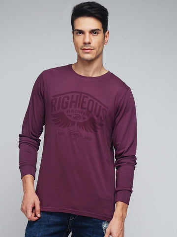 Maroon Color Cotton Men's Tshirt - MYNFS017003MRN