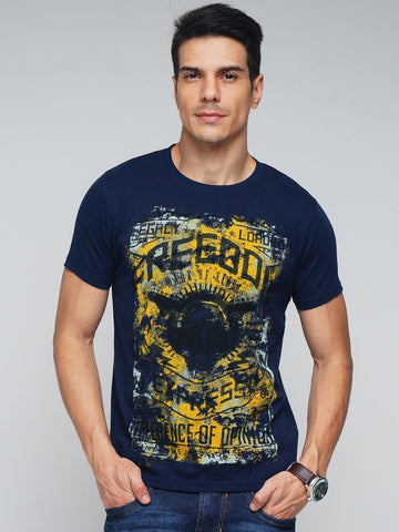 Navy Blue Color Cotton Men's Tshirt - MYNGPCR017004NVY