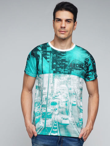 Green Color Cotton Men's Tshirt - MYNGPCR017005GRN