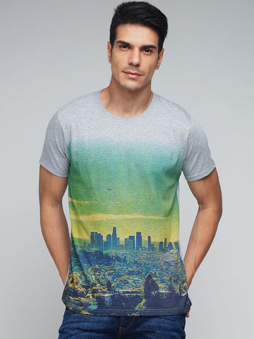 Grey Color Cotton Men's Tshirt - MYNGPCR017009GML