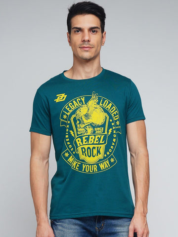 Green Color Cotton Men's Tshirt - MYNGPCR017015GRN