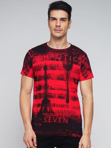 Red Color Cotton Men's Tshirt - MYNGPCR017016RED