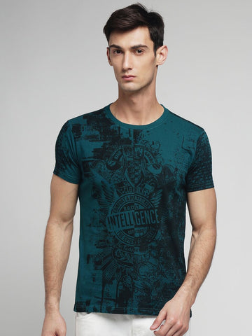 Green Color Cotton Men's Tshirt - MYNGPCR017019GRN