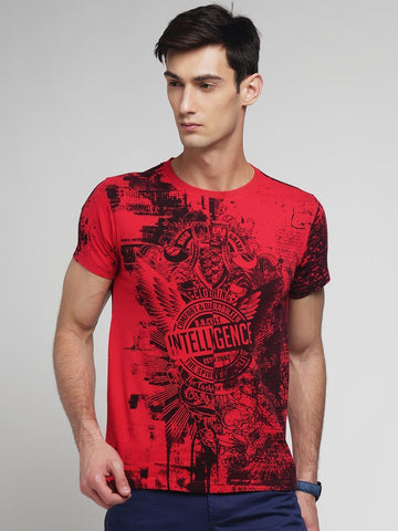 Red Color Cotton Men's Tshirt - MYNGPCR017019RED
