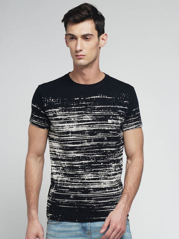 Black Color Cotton Men's Tshirt - MYNGPCR017025BLK