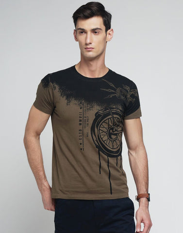 Khaki Color Cotton Men's Tshirt - MYNGPCR017029KHI