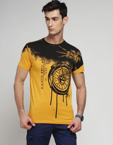 Mustard Color Cotton Men's Tshirt - MYNGPCR017029MUST