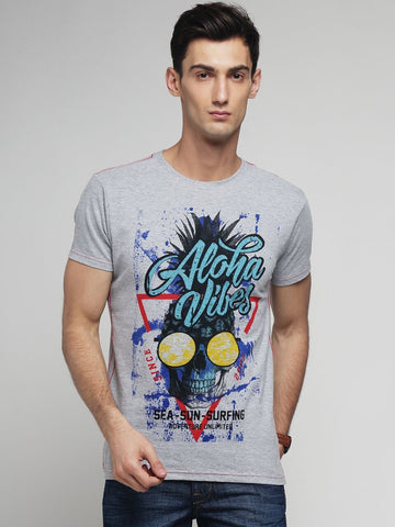 Grey Melange Color Cotton Men's Tshirt - MYNGPCR017031GML