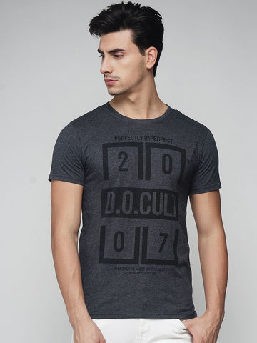 Charcoal Melange Color Cotton Men's Tshirt - MYNGPCR017043CHML