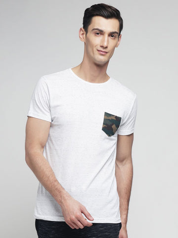 White Color Cotton Men's Tshirt - MYNGPCR017046WHT