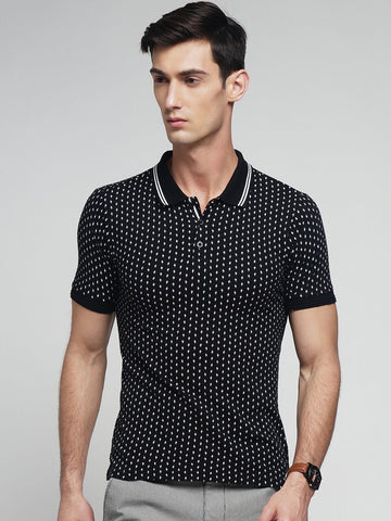 Black Color Cotton Men's Tshirt - MYNPOLO017047BLK