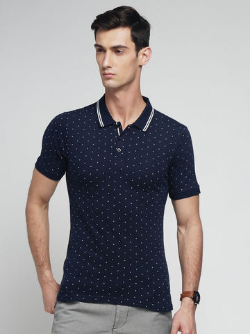 Navy Blue Color Cotton Men's Tshirt - MYNPOLO017047NVY