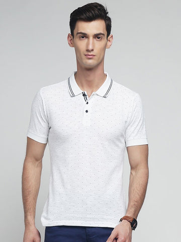 White Color Cotton Men's Tshirt - MYNPOLO017047WHT