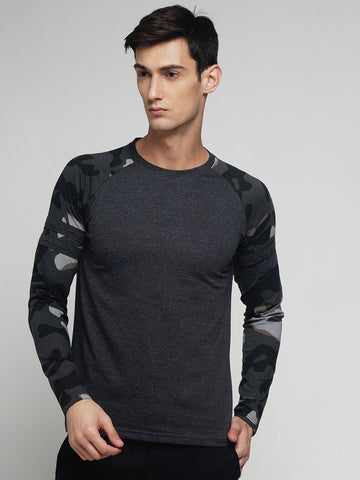 Charcoal Melange Color Cotton Men's Tshirt - MYNRG017001CHML