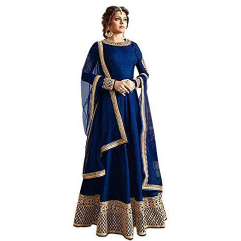 Blue Color Banglori Satin Semi Stitched Salwar Kameez - Madhu-Blue