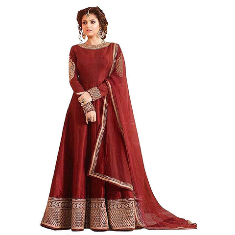 Maroon Color Banglori Satin Semi Stitched Salwar Kameez - Madhu-Red