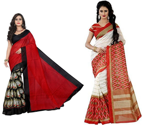 Bhagalpuri Combo Sarees - MahakaliRed-Orange