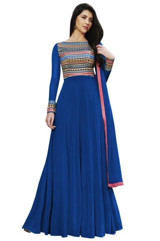 Blue Color Georgette Semi Stitched Salwar Kameez - Maharani-Blue