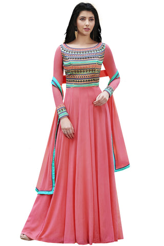 peach Color Georgette Semi Stitched Salwar Kameez - Maharani-Pink