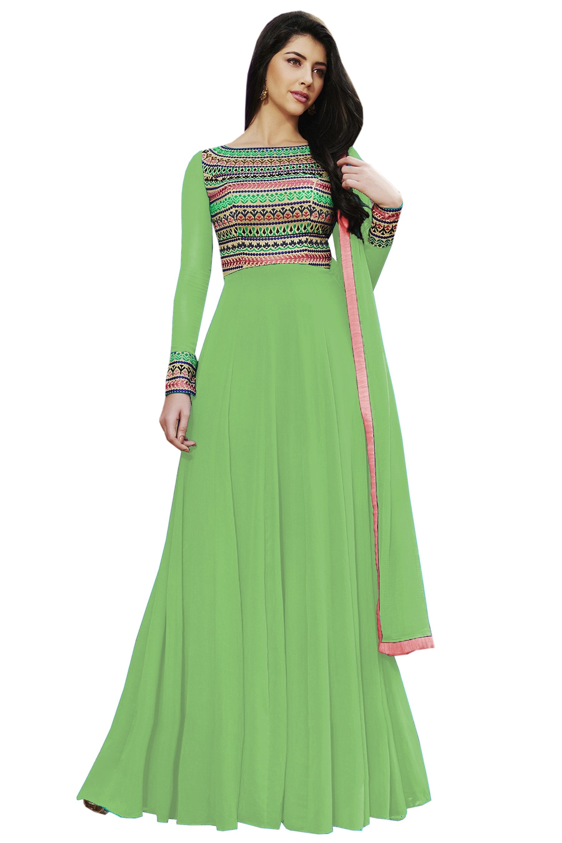 2834abd0f9 Buy Pista Color Georgette Semi Stitched Salwar Kameez | Zinnga