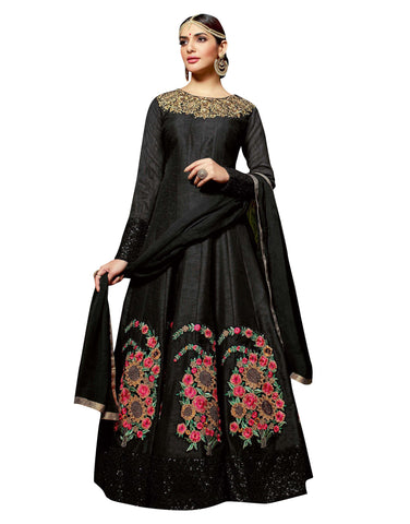 Black Color Pure Silk Un Stitched Salwar - Maheera-24344