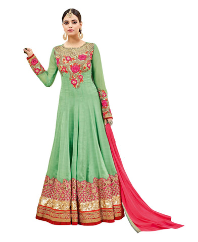 Light Green  Color  Georgette Chiffon Un Stitched Salwar - Maheera-24345