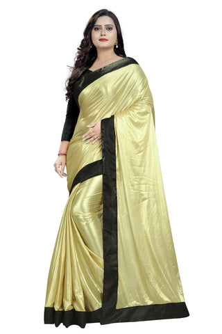 Beige Color Imported Lycra Women's Saree - Malai-Black-Beige