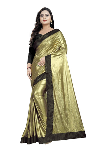Brown Color Imported Lycra Women's Saree - Malai-Black-Brown