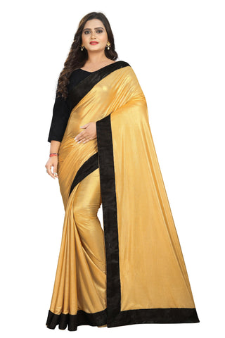 Gold Color Imported Lycra Women's Saree - Malai-Black-Gold