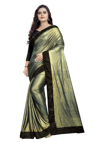 Navy Blue Color Imported Lycra Women's Saree - Malai-Black-NavyBlue