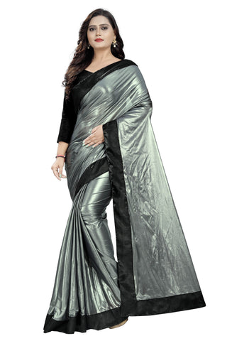 Silver Color Imported Lycra Women's Saree - Malai-Black-Silver