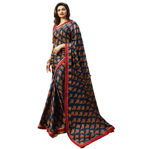 Blue Color Rangoli Chiffon Saree  - Malhari-19959
