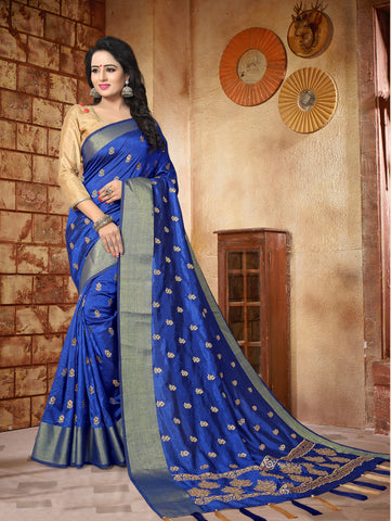 Blue Color Silk Saree - Malishka902