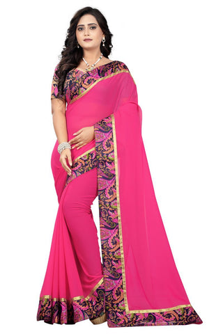 Pink Color Faux Georgette Saree - Marbel-Pink