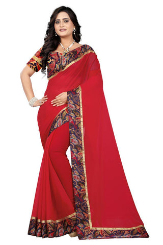 Red Color Faux Georgette Saree - Marbel-Red