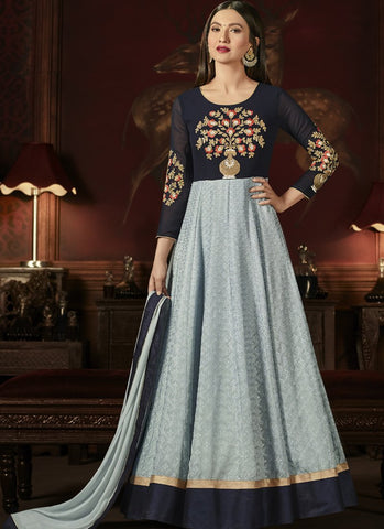 Black And Light Grey Color Georgette Semi Stitched Salwar - Marina5-10004