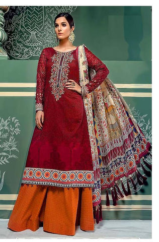 Maroon Color Cambric Cotton Semi Stitched Salwar - Mariya-5603