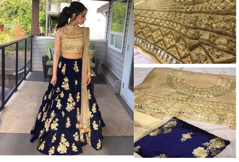 Gold and Blue Color Velvet Women's Semi Stitched Lehenga - Mastani_Mirror_Lahenga