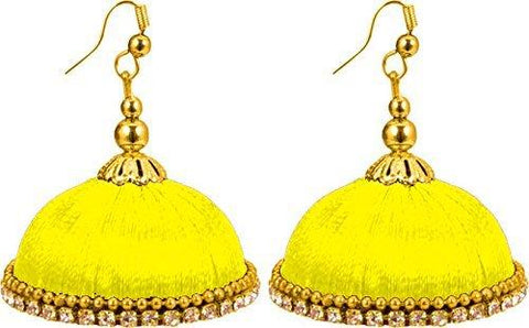 Lemon Yellow Color Silk Thread Ear Rings - Maya-007