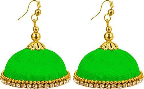 Parrot Green Color Silk Thread Ear Rings - Maya-008